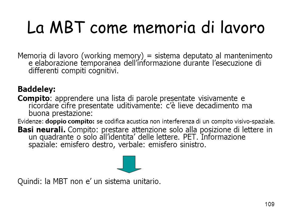 108 I sistemi di memoria: oggi Studi recenti: lidea dicotomica (MBT/MLT) della memoria viene messa in crisi. 3 direzioni: A. accento sui processi di c