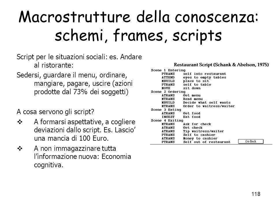 117 Macrostrutture della conoscenza: schemi, frames, scripts Caratteristiche comuni a schemi/frame/script (Schank e Abelson, Minsky, Rumelhart, Bower)