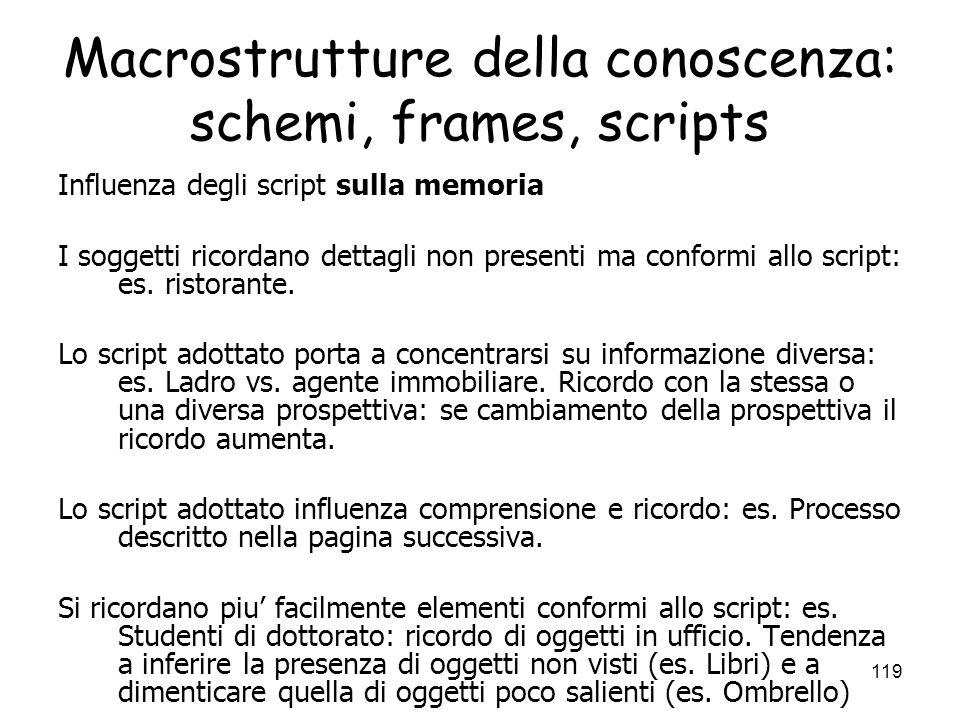 118 Macrostrutture della conoscenza: schemi, frames, scripts Script per le situazioni sociali: es. Andare al ristorante: Sedersi, guardare il menu, or