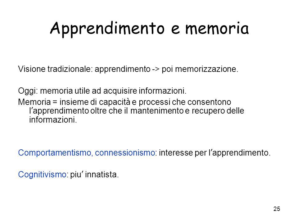 24 Definizione Definizione di apprendimento= modificazione relativamente permanente del comportamento in seguito all esperienza. Funzione adattiva del