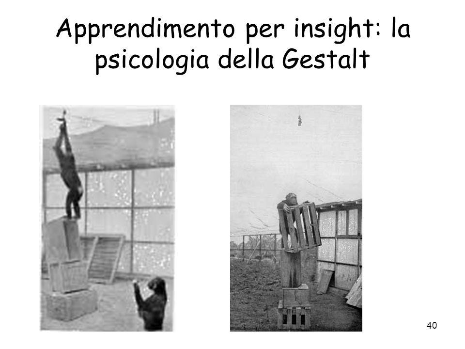 39 Apprendimento per insight: la psicologia della Gestalt Gestalt: contro lassociazionismo. non apprendimento per prove ed errori (Thorndike), ossia c