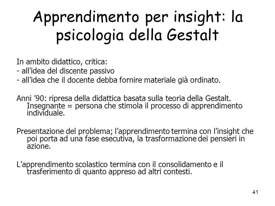 40 Apprendimento per insight: la psicologia della Gestalt
