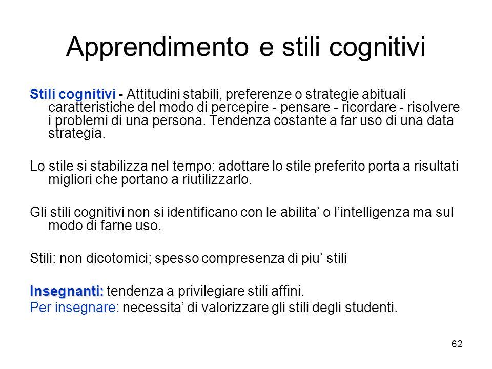 61 Apprendimento secondo la visione embodied della cognizione Attraverso il linguaggio. Vantaggi: possibilità di generalizzazione; possibilità di usuf