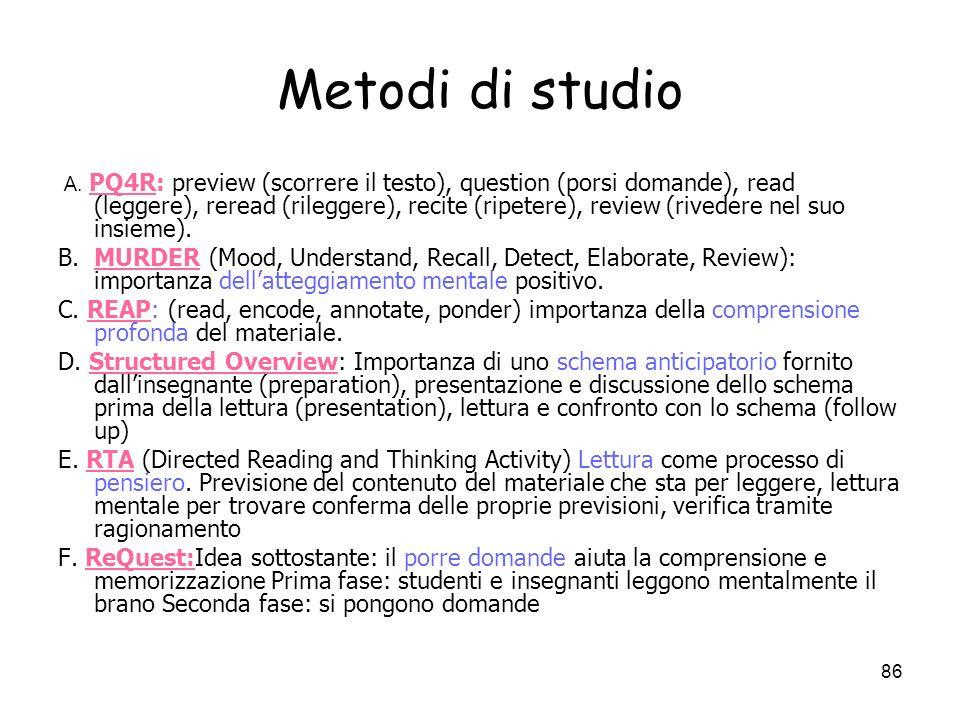 85 La memoria 1. Metodi di studio 1. I processi di memoria a. Codifica b. Ritenzione c. Recupero d. Oblio 3. I sistemi di memoria La memoria a breve t
