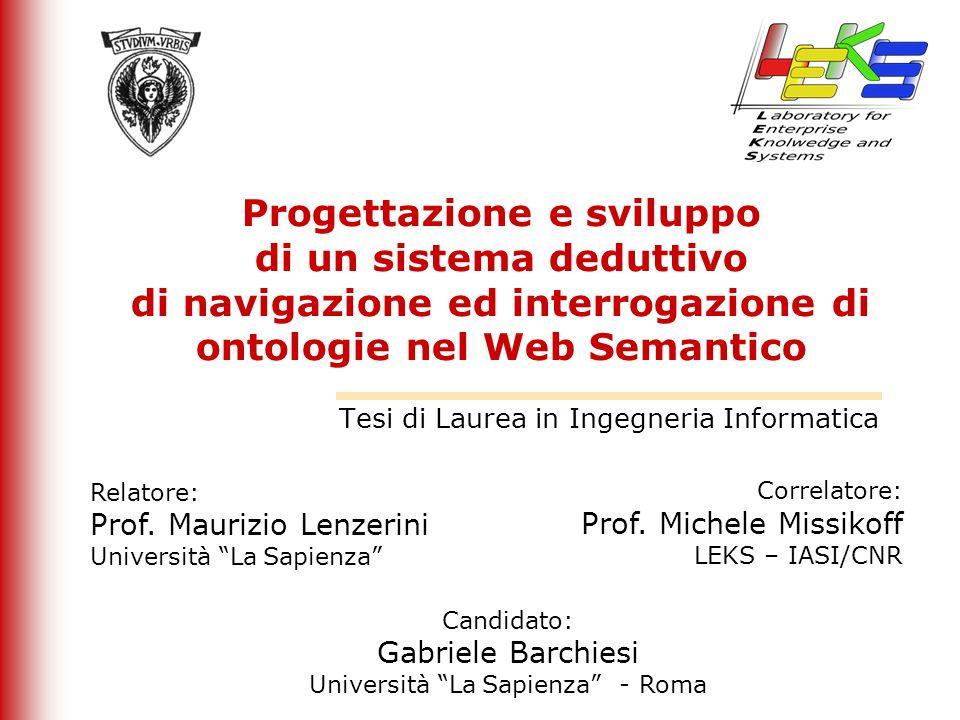 Progettazione e sviluppo di un sistema deduttivo di navigazione ed interrogazione di ontologie nel Web Semantico Tesi di Laurea in Ingegneria Informat