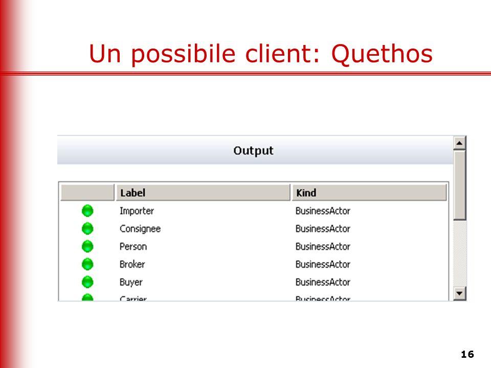 16 Un possibile client: Quethos
