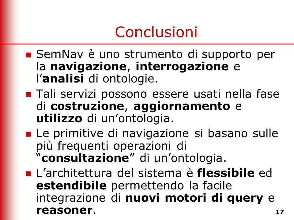 17 Conclusioni SemNav è uno strumento di supporto per la navigazione, interrogazione e lanalisi di ontologie. Tali servizi possono essere usati nella