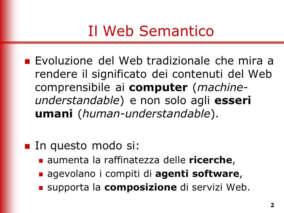 2 Il Web Semantico Evoluzione del Web tradizionale che mira a rendere il significato dei contenuti del Web comprensibile ai computer (machine- underst
