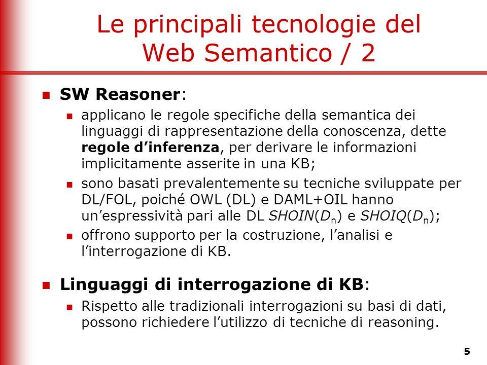 5 Le principali tecnologie del Web Semantico / 2 SW Reasoner: applicano le regole specifiche della semantica dei linguaggi di rappresentazione della c