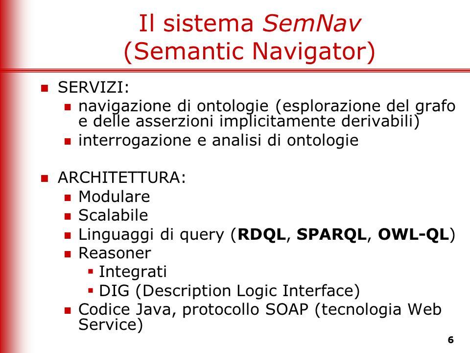 6 Il sistema SemNav (Semantic Navigator) SERVIZI: navigazione di ontologie (esplorazione del grafo e delle asserzioni implicitamente derivabili) inter