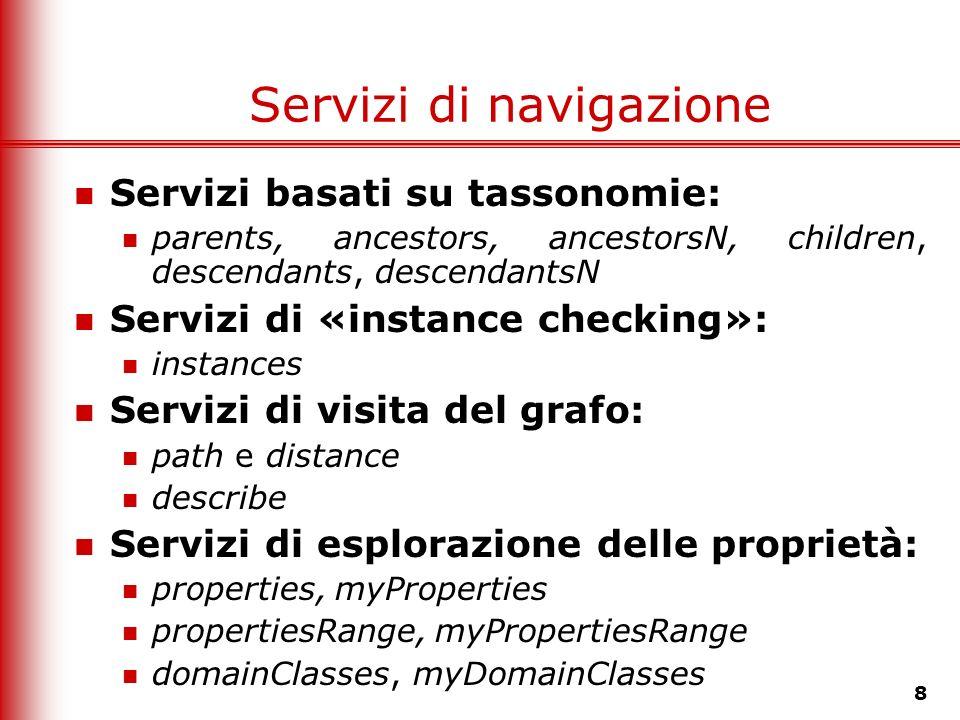 8 Servizi di navigazione Servizi basati su tassonomie: parents, ancestors, ancestorsN, children, descendants, descendantsN Servizi di «instance checki
