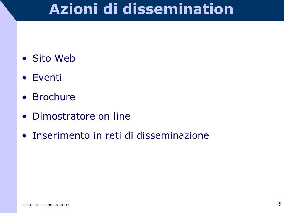 Pisa - 23 Gennaio 2003 5 Azioni di dissemination Sito Web Eventi Brochure Dimostratore on line Inserimento in reti di disseminazione