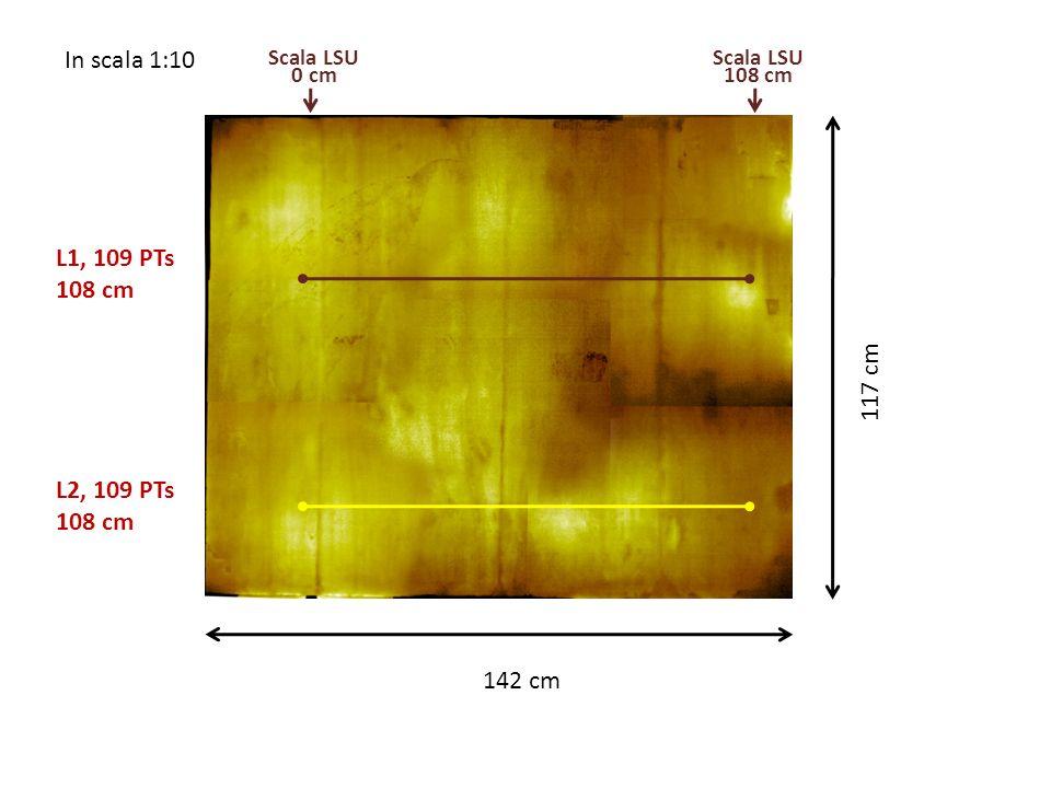 In scala 1:10 117 cm 142 cm L1, 109 PTs 108 cm L2, 109 PTs 108 cm Scala LSU 0 cm Scala LSU 108 cm