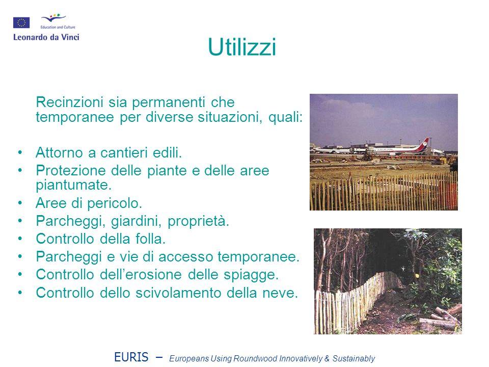 EURIS – Europeans Using Roundwood Innovatively & Sustainably Utilizzi Recinzioni sia permanenti che temporanee per diverse situazioni, quali: Attorno a cantieri edili.