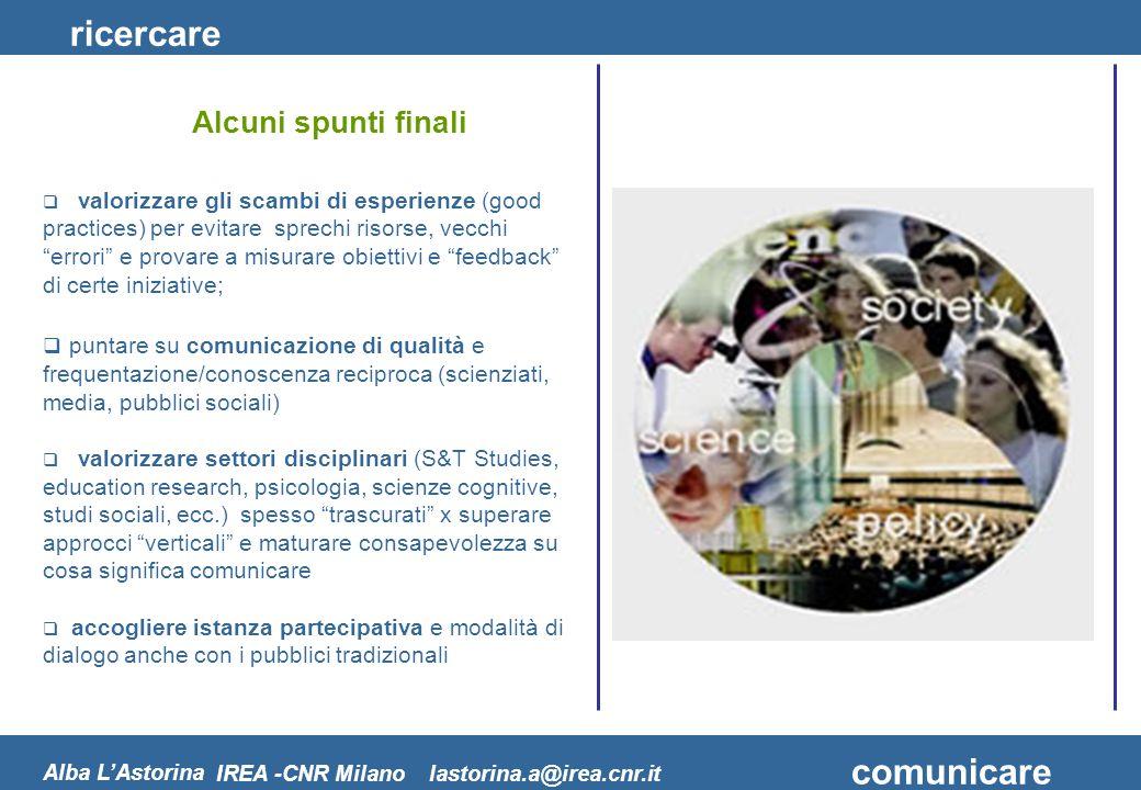 ricercare comunicare Alba LAstorina IREA -CNR Milano lastorina.a@irea.cnr.it valorizzare gli scambi di esperienze (good practices) per evitare sprechi