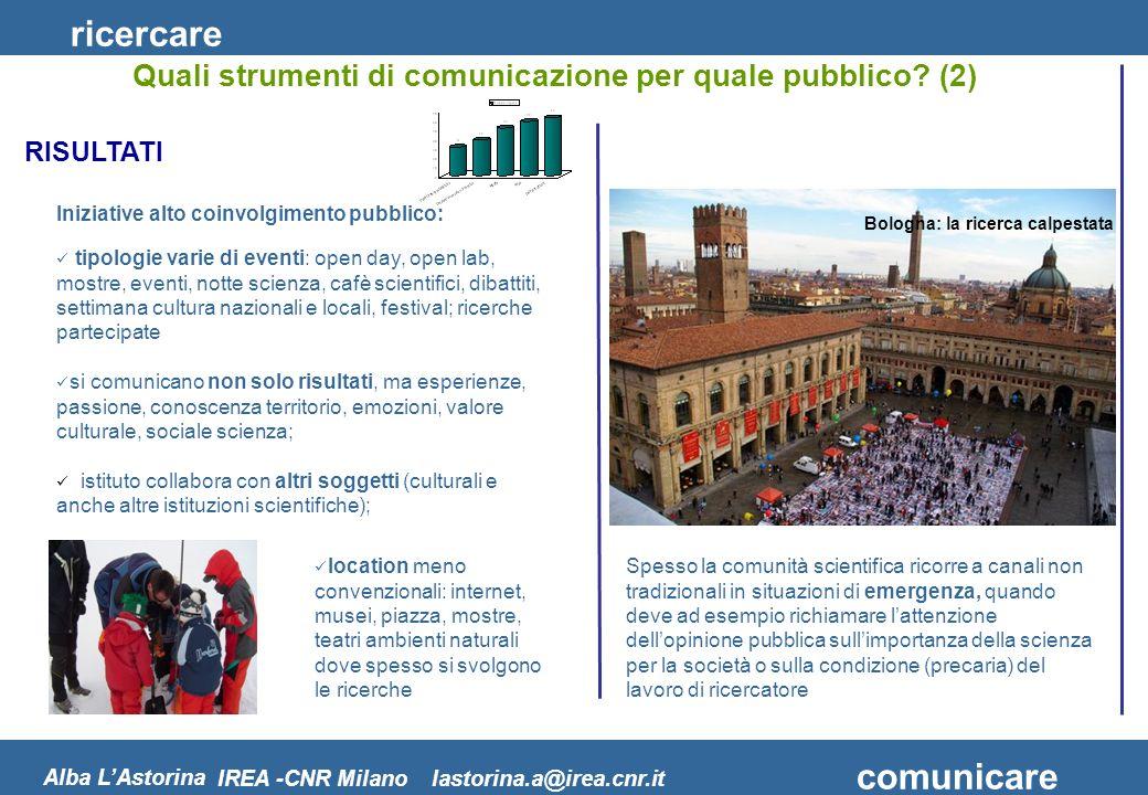 ricercare comunicare Alba LAstorina IREA -CNR Milano lastorina.a@irea.cnr.it tipologie varie di eventi: open day, open lab, mostre, eventi, notte scie