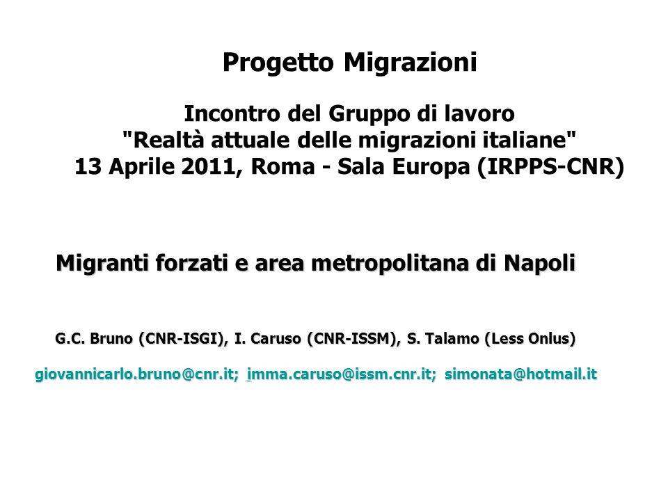 Progetto Migrazioni Incontro del Gruppo di lavoro Realtà attuale delle migrazioni italiane 13 Aprile 2011, Roma - Sala Europa (IRPPS-CNR) Migranti forzati e area metropolitana di Napoli G.C.