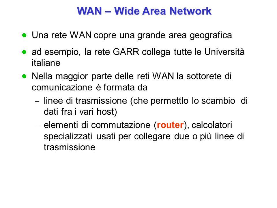 Una rete WAN copre una grande area geografica ad esempio, la rete GARR collega tutte le Università italiane Nella maggior parte delle reti WAN la sott