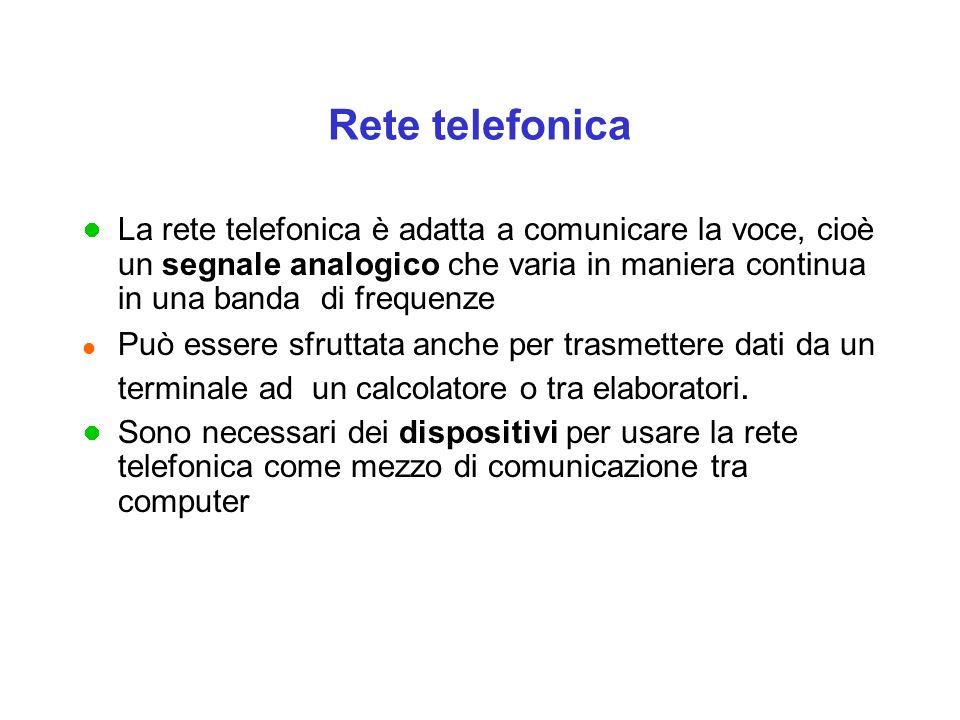 Rete telefonica La rete telefonica è adatta a comunicare la voce, cioè un segnale analogico che varia in maniera continua in una banda di frequenze l