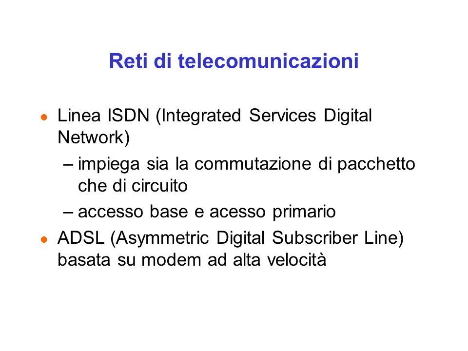 Reti di telecomunicazioni l Linea ISDN (Integrated Services Digital Network) –impiega sia la commutazione di pacchetto che di circuito –accesso base e