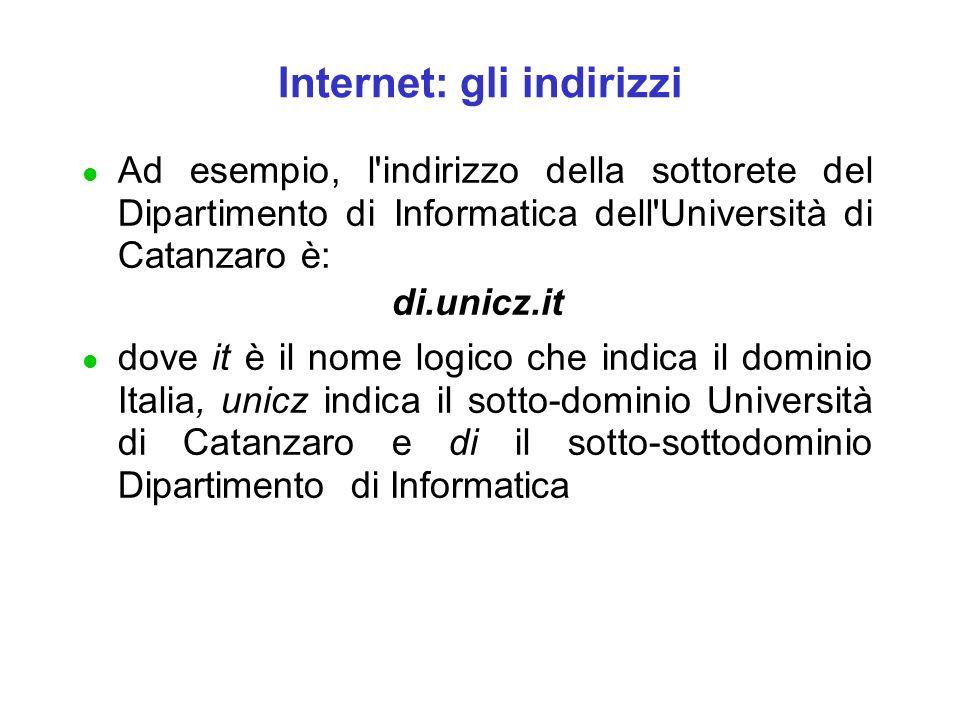 Internet: gli indirizzi l Ad esempio, l'indirizzo della sottorete del Dipartimento di Informatica dell'Università di Catanzaro è: di.unicz.it l dove i