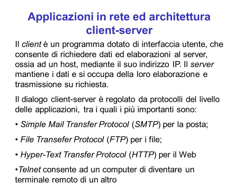 Applicazioni in rete ed architettura client-server Il client è un programma dotato di interfaccia utente, che consente di richiedere dati ed elaborazi