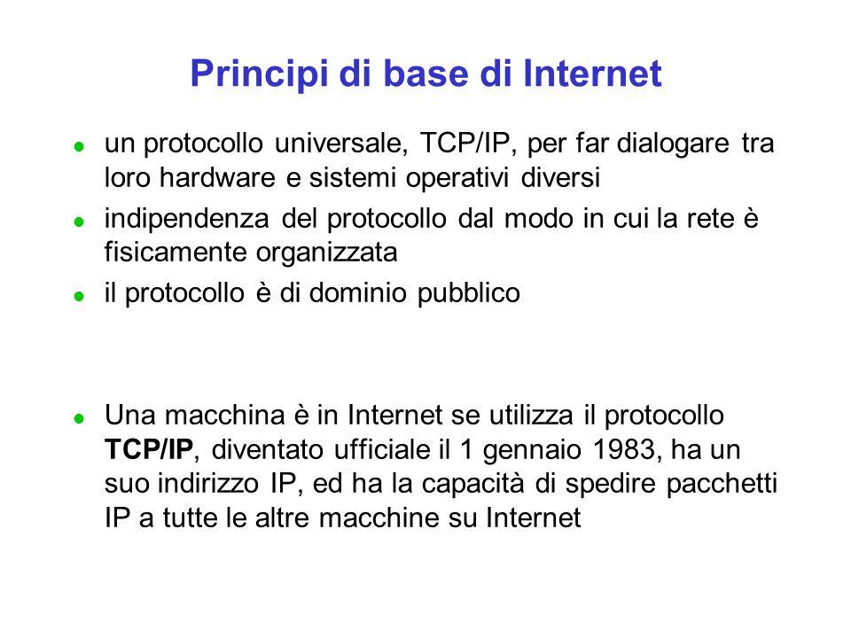 Principi di base di Internet l un protocollo universale, TCP/IP, per far dialogare tra loro hardware e sistemi operativi diversi l indipendenza del pr