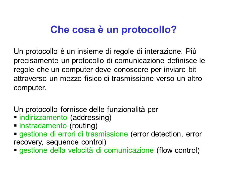 Che cosa è un protocollo? Un protocollo è un insieme di regole di interazione. Più precisamente un protocollo di comunicazione definisce le regole che