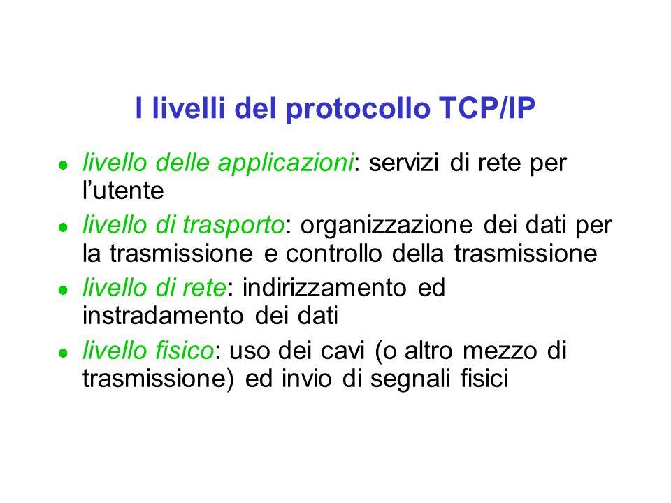 I livelli del protocollo TCP/IP l livello delle applicazioni: servizi di rete per lutente l livello di trasporto: organizzazione dei dati per la trasm