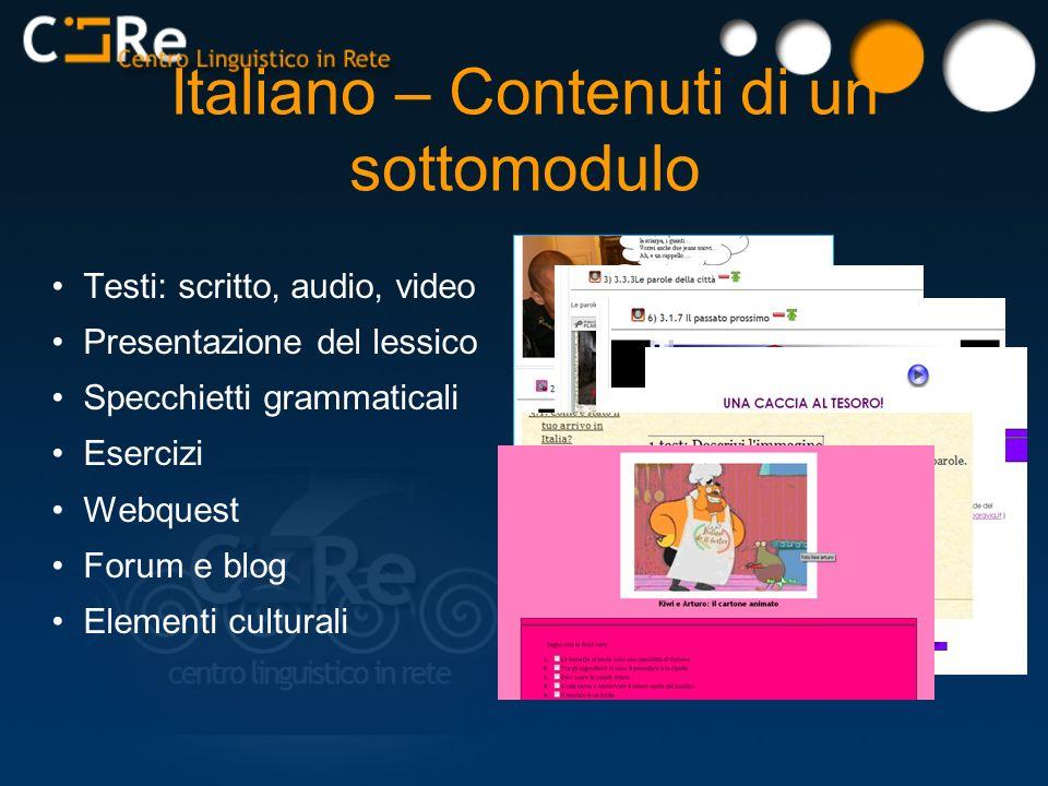 Testi: scritto, audio, video Presentazione del lessico Specchietti grammaticali Esercizi Webquest Forum e blog Elementi culturali Italiano – Contenuti di un sottomodulo