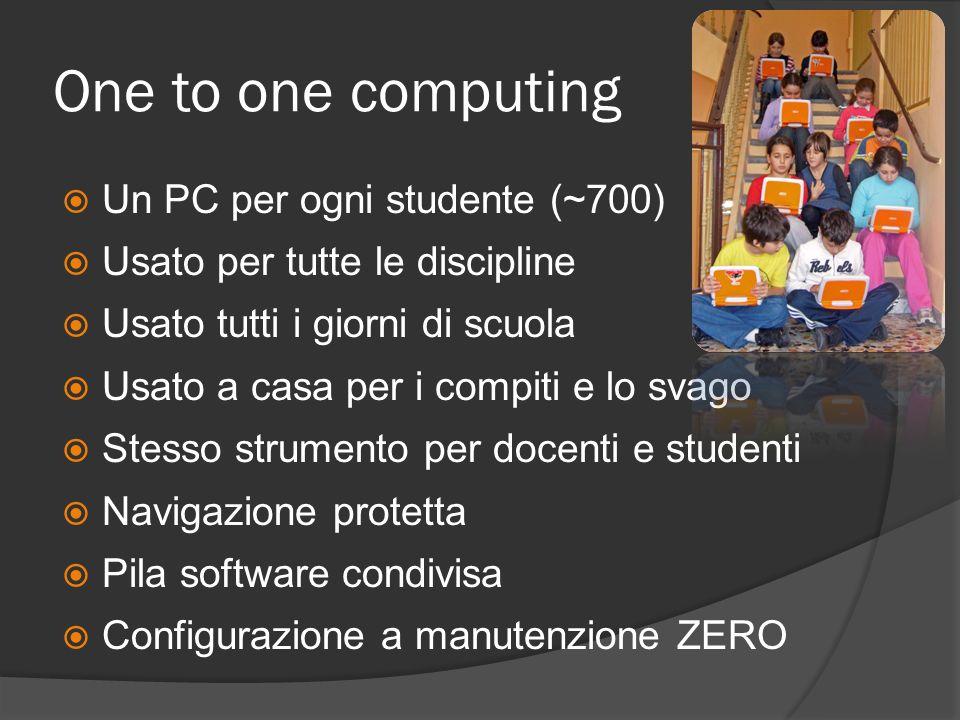 One to one computing Un PC per ogni studente (~700) Usato per tutte le discipline Usato tutti i giorni di scuola Usato a casa per i compiti e lo svago Stesso strumento per docenti e studenti Navigazione protetta Pila software condivisa Configurazione a manutenzione ZERO