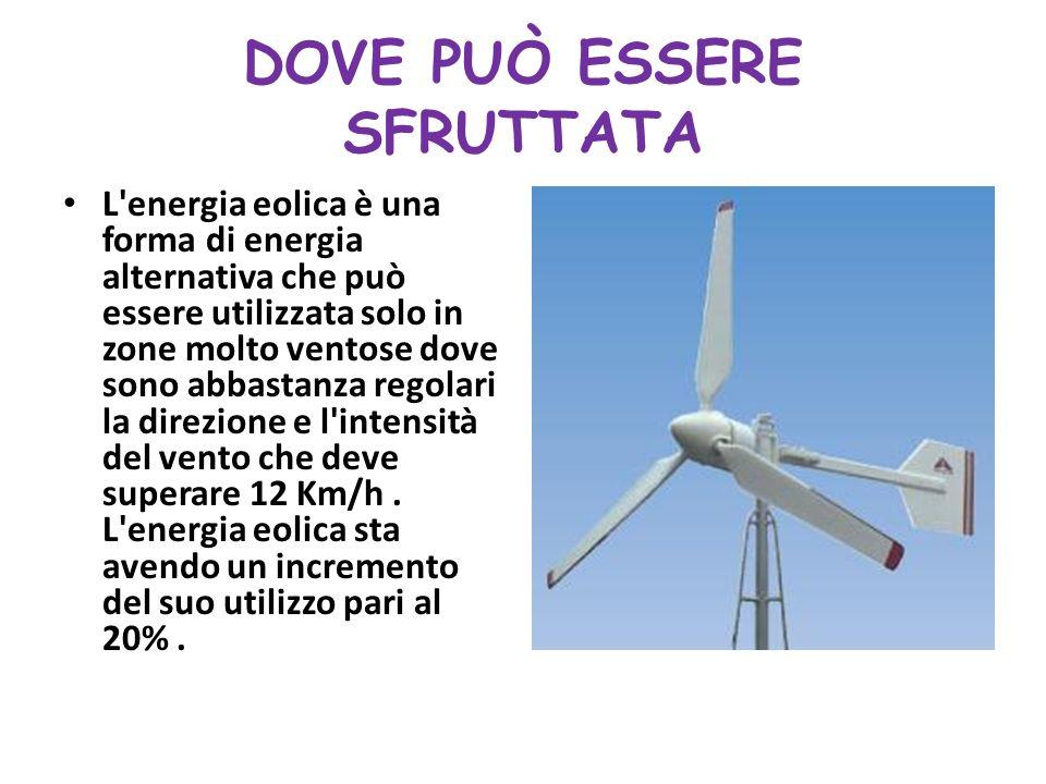 DOVE PUÒ ESSERE SFRUTTATA L energia eolica è una forma di energia alternativa che può essere utilizzata solo in zone molto ventose dove sono abbastanza regolari la direzione e l intensità del vento che deve superare 12 Km/h.
