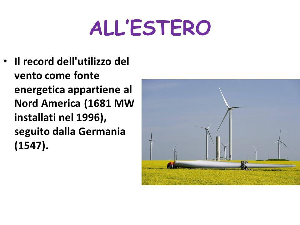ALLESTERO Il record dell'utilizzo del vento come fonte energetica appartiene al Nord America (1681 MW installati nel 1996), seguito dalla Germania (15