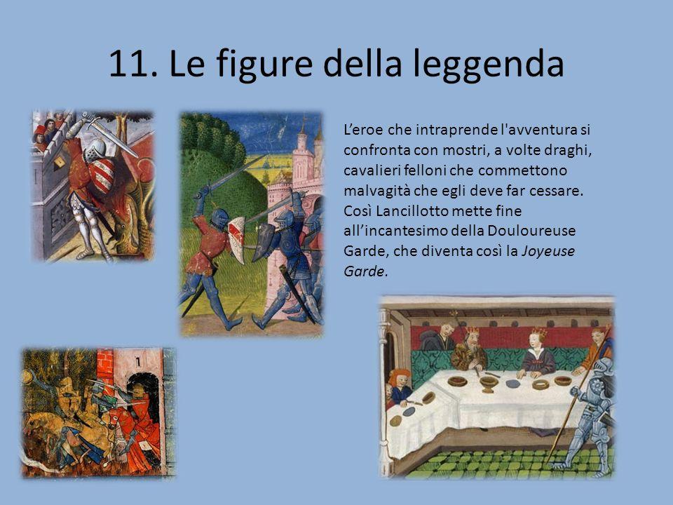 11. Le figure della leggenda Leroe che intraprende l'avventura si confronta con mostri, a volte draghi, cavalieri felloni che commettono malvagità che