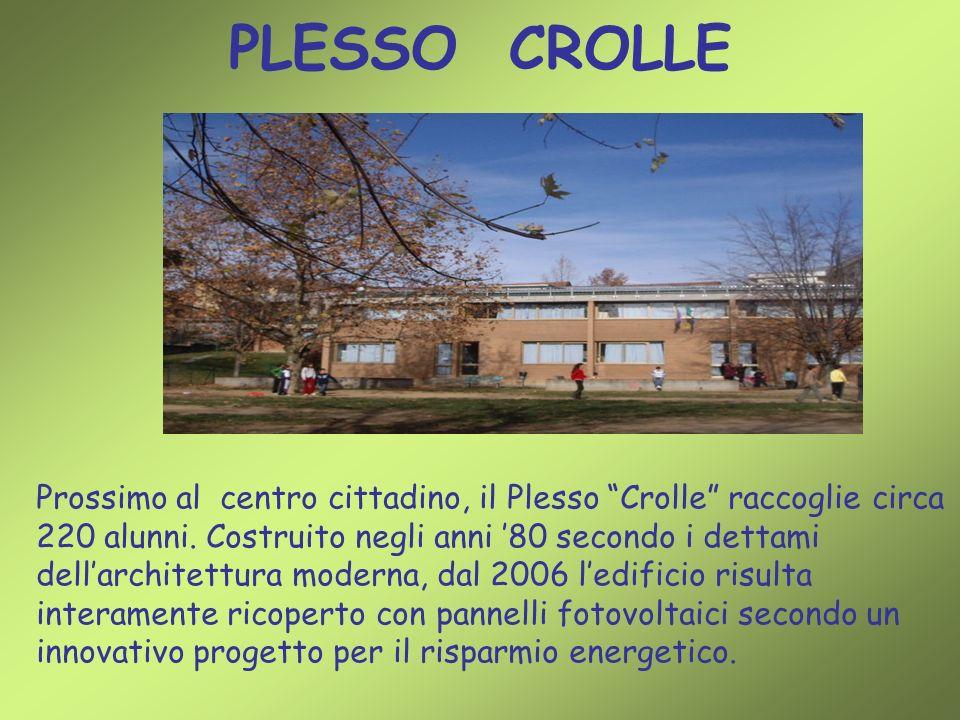 PLESSO CROLLE Prossimo al centro cittadino, il Plesso Crolle raccoglie circa 220 alunni. Costruito negli anni 80 secondo i dettami dellarchitettura mo