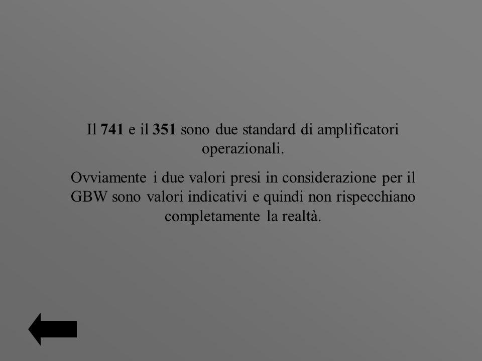 Il 741 e il 351 sono due standard di amplificatori operazionali. Ovviamente i due valori presi in considerazione per il GBW sono valori indicativi e q