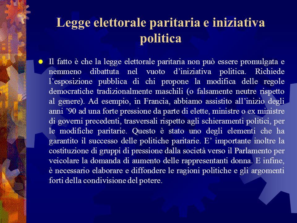 Legge elettorale paritaria e iniziativa politica Il fatto è che la legge elettorale paritaria non può essere promulgata e nemmeno dibattuta nel vuoto diniziativa politica.