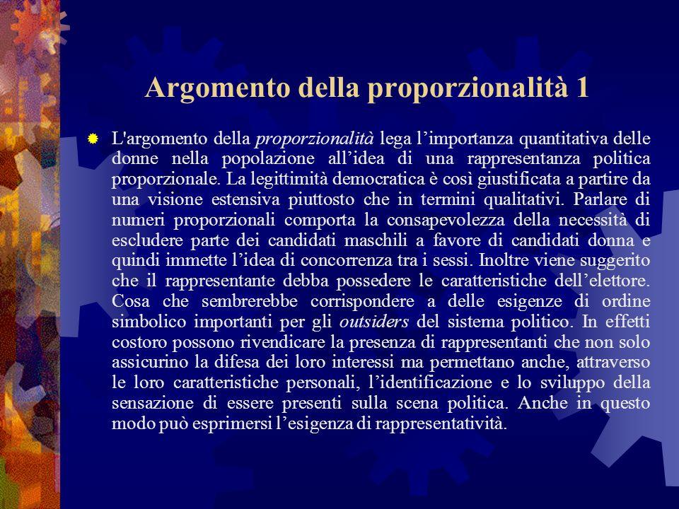 Argomento della proporzionalità 1 L argomento della proporzionalità lega limportanza quantitativa delle donne nella popolazione allidea di una rappresentanza politica proporzionale.