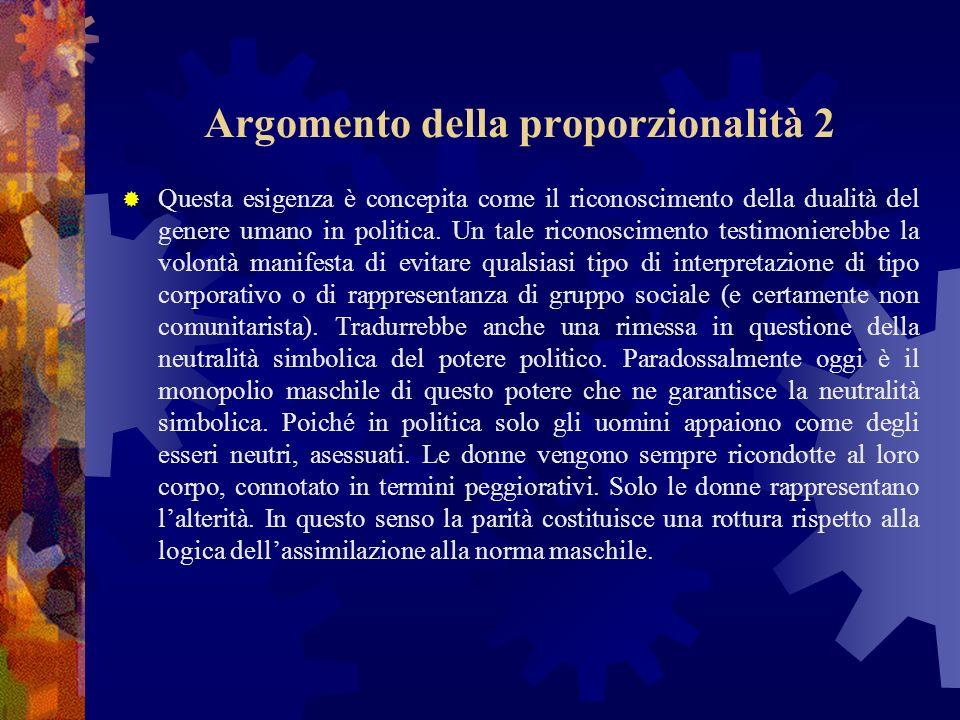 Argomento della proporzionalità 2 Questa esigenza è concepita come il riconoscimento della dualità del genere umano in politica.