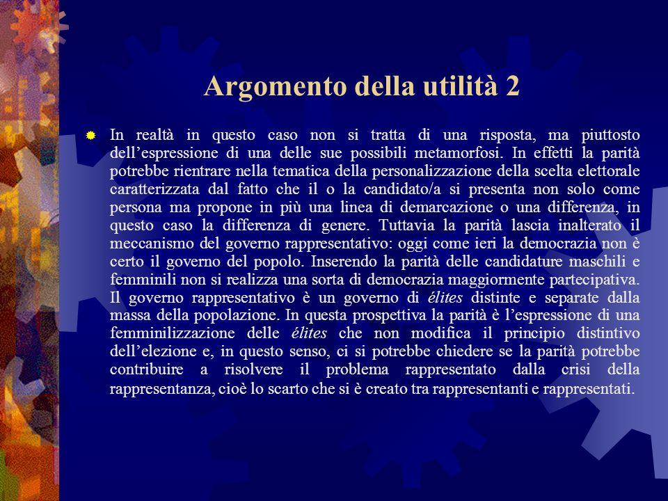 Argomento della utilità 2 In realtà in questo caso non si tratta di una risposta, ma piuttosto dellespressione di una delle sue possibili metamorfosi.