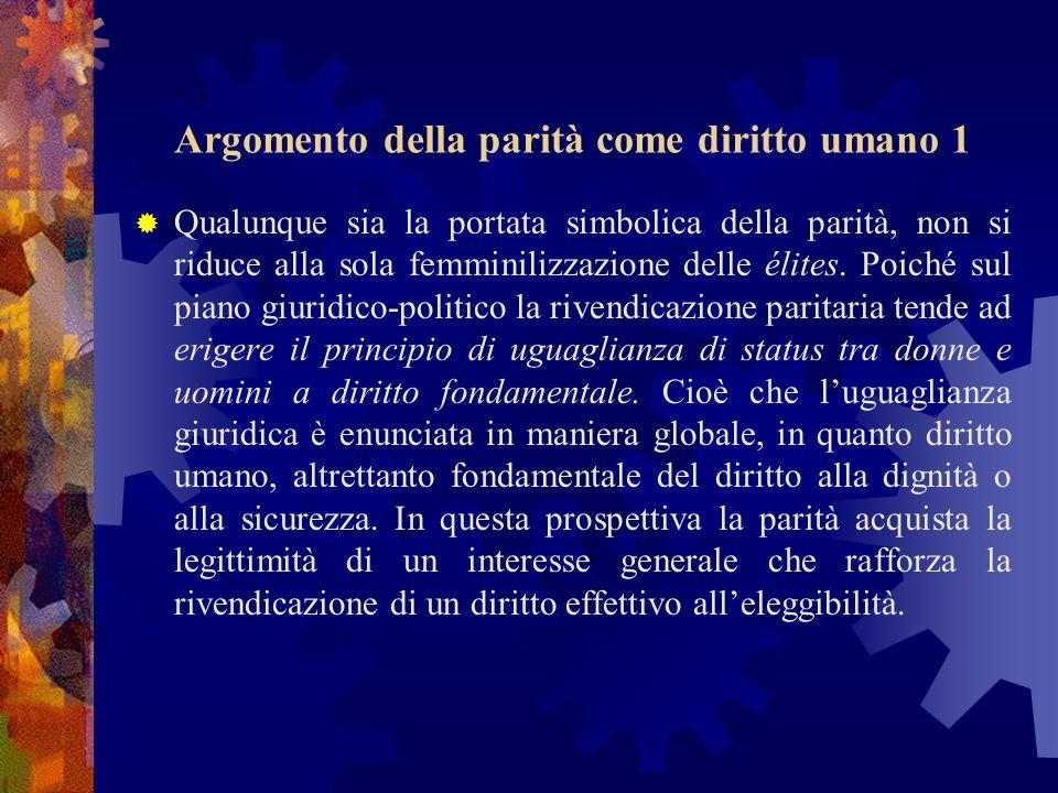 Argomento della parità come diritto umano 1 Qualunque sia la portata simbolica della parità, non si riduce alla sola femminilizzazione delle élites.