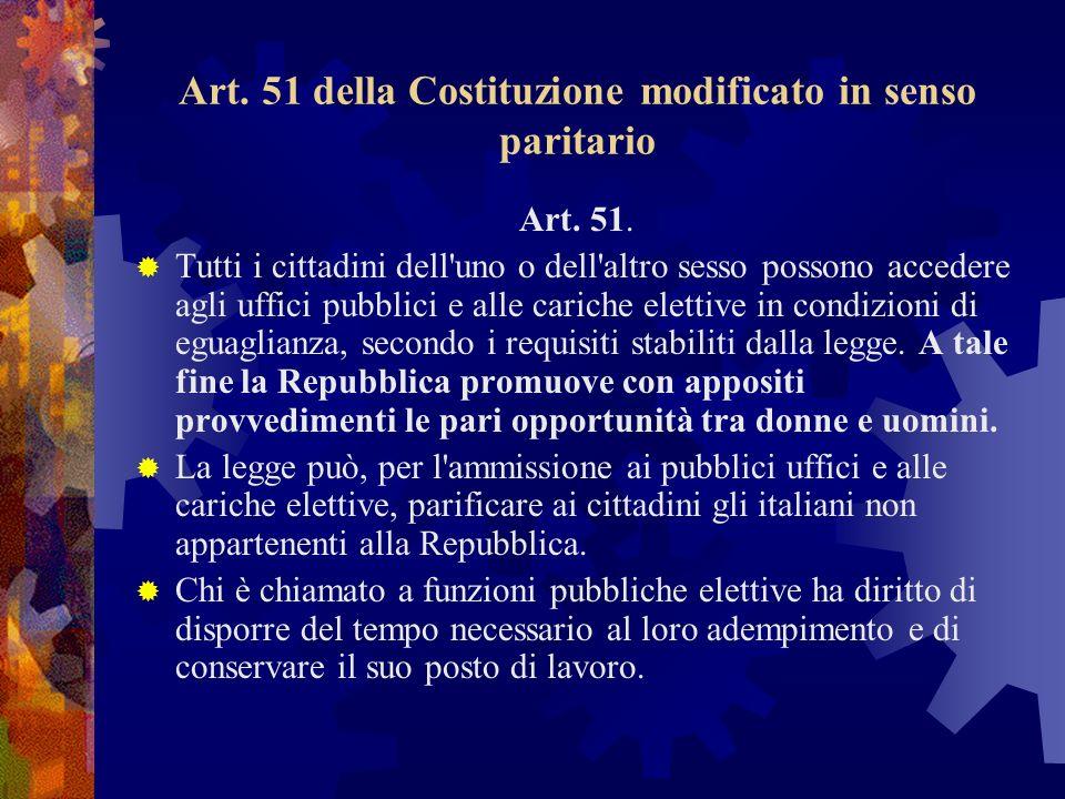 Art. 51 della Costituzione modificato in senso paritario Art.