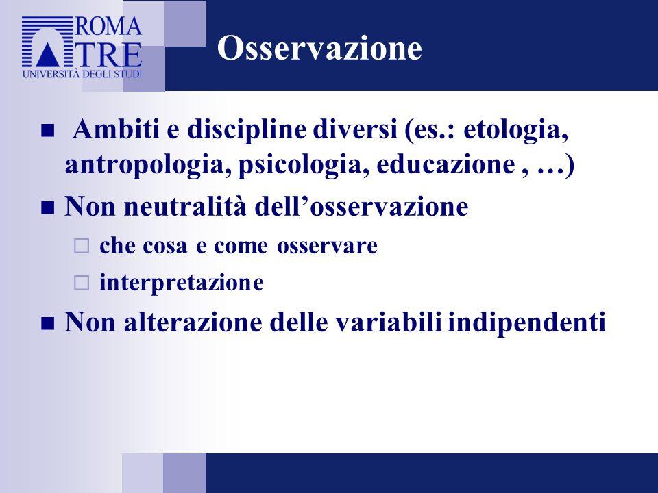 Osservazione Ambiti e discipline diversi (es.: etologia, antropologia, psicologia, educazione, …) Non neutralità dellosservazione che cosa e come osse