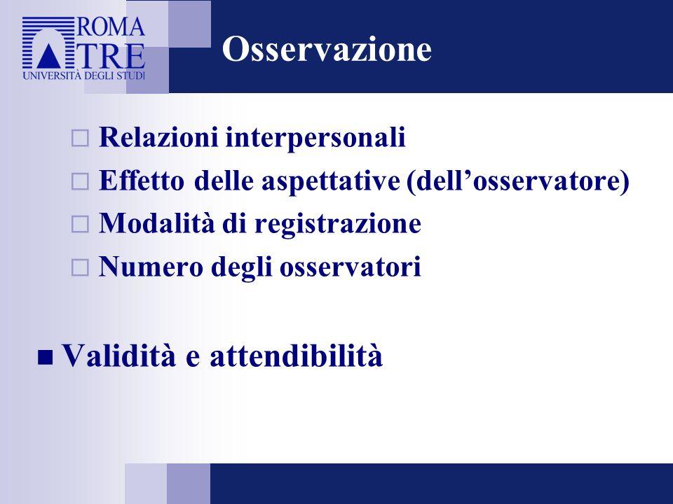 Osservazione Relazioni interpersonali Effetto delle aspettative (dellosservatore) Modalità di registrazione Numero degli osservatori Validità e attend