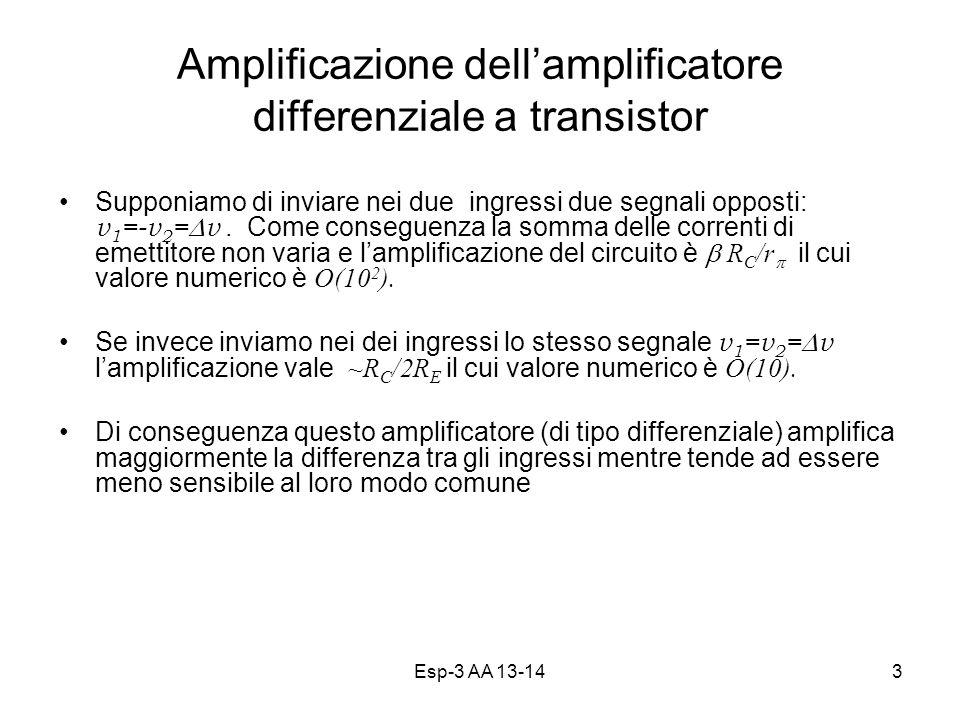 Esp-3 AA 13-143 Amplificazione dellamplificatore differenziale a transistor Supponiamo di inviare nei due ingressi due segnali opposti: v 1 =-v 2 = v.