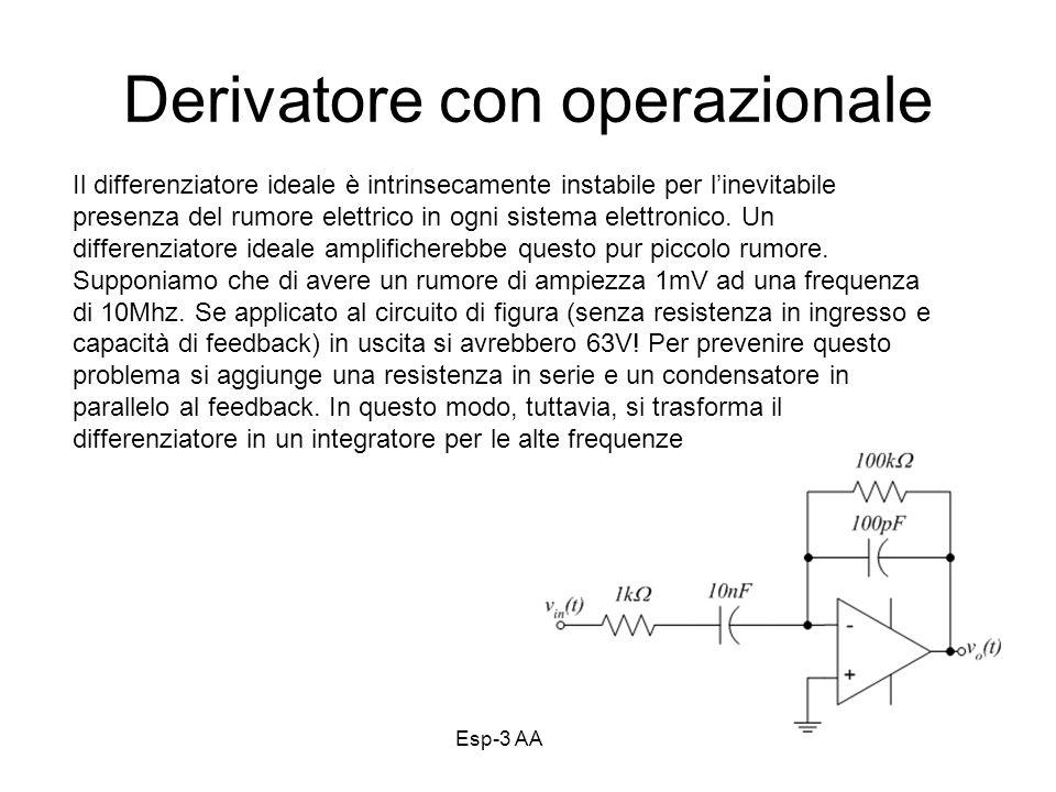 Esp-3 AA 13-1431 Derivatore con operazionale Il differenziatore ideale è intrinsecamente instabile per linevitabile presenza del rumore elettrico in ogni sistema elettronico.