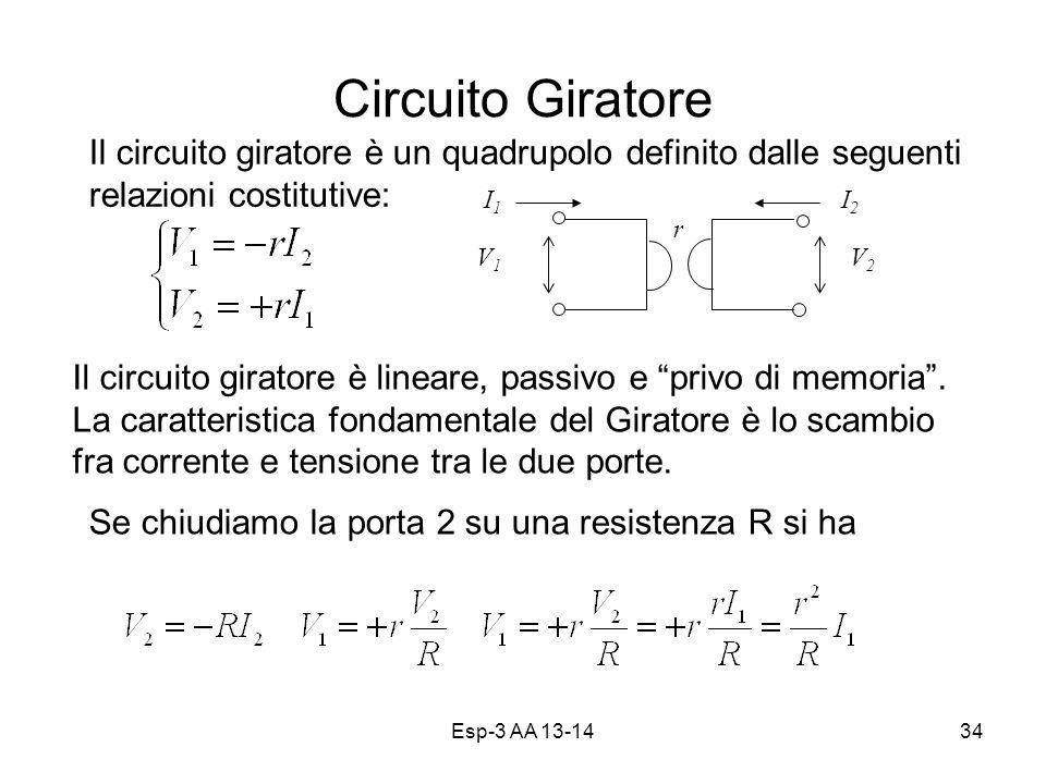 Esp-3 AA 13-1434 Circuito Giratore Il circuito giratore è un quadrupolo definito dalle seguenti relazioni costitutive: V1V1 V2V2 I1I1 I2I2 Il circuito giratore è lineare, passivo e privo di memoria.