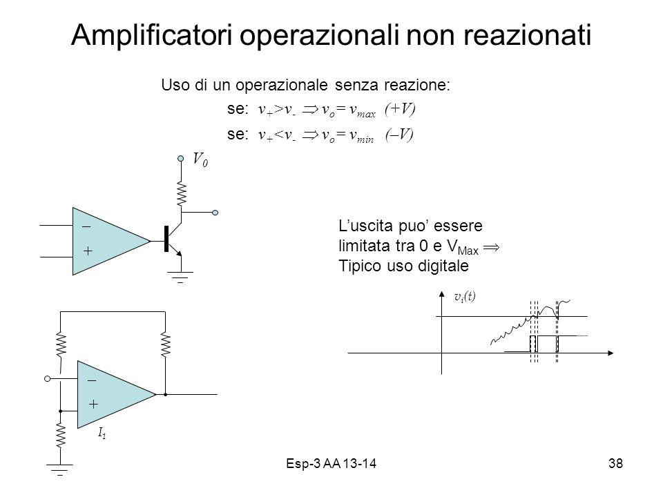 Esp-3 AA 13-1438 Amplificatori operazionali non reazionati v i (t) V0V0 V1V1 I1I1 Uso di un operazionale senza reazione: se: v + >v - v o = v max (+V) se: v + <v - v o = v min (–V) – + Luscita puo essere limitata tra 0 e V Max Tipico uso digitale – +
