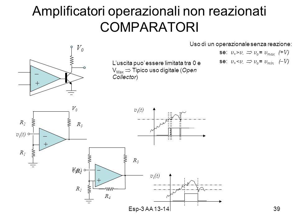 Esp-3 AA 13-1439 Amplificatori operazionali non reazionati COMPARATORI v i (t) Uso di un operazionale senza reazione: se: v + >v - v o = v max (+V) se: v + <v - v o = v min (–V) Luscita puo essere limitata tra 0 e V Max Tipico uso digitale (Open Collector) V0V0 – + V1V1 – + V0V0 R3R3 R2R2 R1R1 v i (t) V1V1 – + V0V0 R3R3 R2R2 R1R1 R4R4