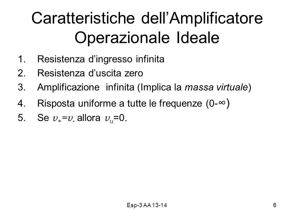 Esp-3 AA 13-146 Caratteristiche dellAmplificatore Operazionale Ideale 1.Resistenza dingresso infinita 2.Resistenza duscita zero 3.Amplificazione infinita (Implica la massa virtuale) 4.Risposta uniforme a tutte le frequenze (0- ) 5.Se v + =v - allora v u =0.
